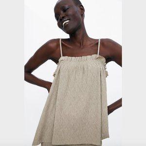 NWOT Zara Khaki Beige Textured Cami Top Size M
